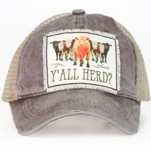 Yall Herd? Patch High Ponytail Hat. Ponytail Cap.